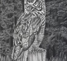 Great Horned Owl - Charcoal by Deb Fedeler