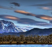 UFOs over the mountains by Peter Hammer