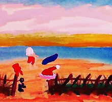 Santa's taking time to surf in San Diego, watercolor by Anna  Lewis