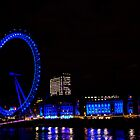 London Eye - At Night Blue by CalumCJL