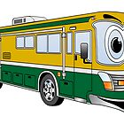 Green and Gold Cartoon Camper Bus by Graphxpro