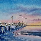 Shorncliffe Pier Sunrise / Watercolour by Werner Langer