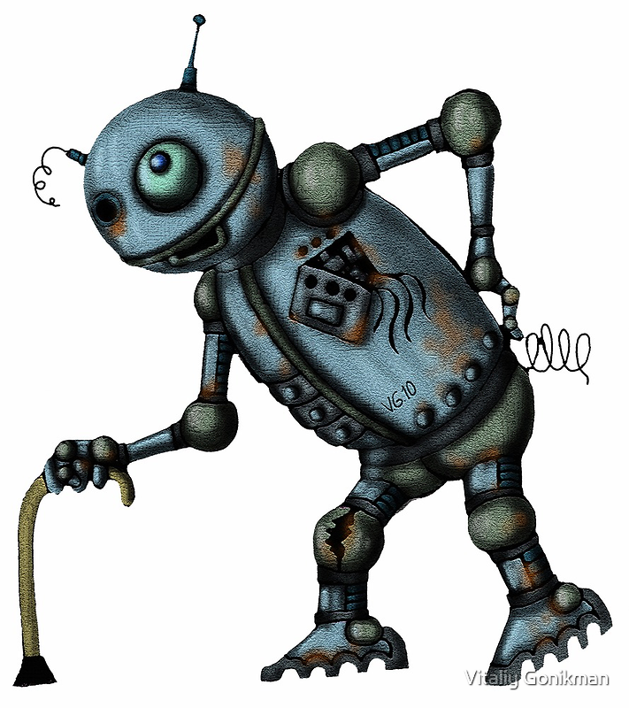 Funny Old Robot cartoon drawing art by Vitaliy Gonikman