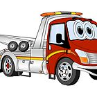 Cartoon Red and Silver Wrecker Tow Truck by Graphxpro