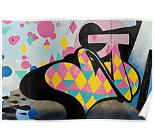 Abstract and Colorful Graffiti on the textured wall Poster