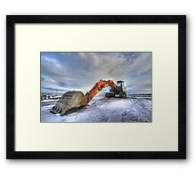 Excavator on Ice, HDR Framed Print