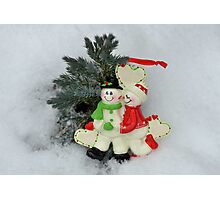 Cute couple with Santa costumes kissing and hugging on Christmas  Photographic Print