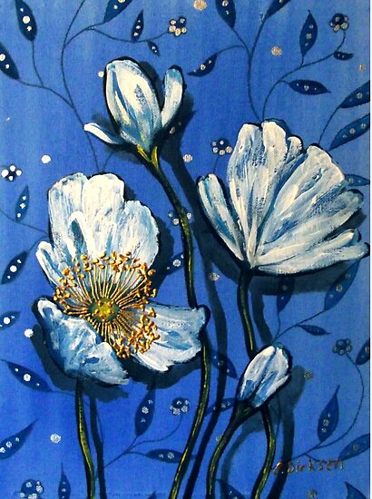 White Poppies on Blue by Cherie Roe Dirksen