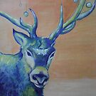 Blue Reindeer/ORIGINAL PAINTING by Amit Grubstein by AmitArt