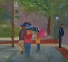 Family with Umbrellas by Patricia Cleasby