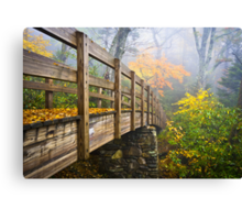 Tanawha Trail Foot Bridge - Rough Ridge Autumn Foliage NC Canvas Print