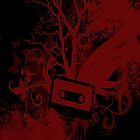 Red/Black Cassette Splatter Case by Jenifer Jenkins