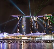 Lights work at Marina Bay Sand Resort (Singapore) by Mark Lee