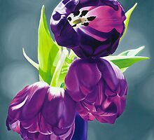 Purple Tulips III. - Oil painting by VargaZsuzsanna