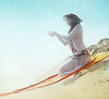 Divine offer in the beach by Wari Om  Yoga Photography