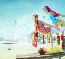 Acroyoga with two flyers by Wari Om  Yoga Photography