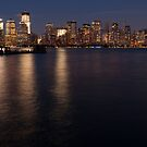 Lower Manhattan at night. by visfineart
