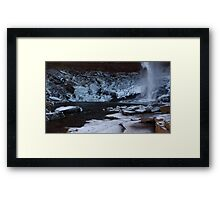 Catskills waterfalls upstate NY in winter time 2 Framed Print