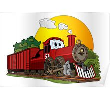 Red Cartoon Steam Engine Poster