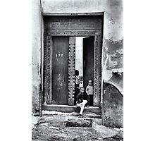 Three African kids Stonetown Zanzibar Photographic Print
