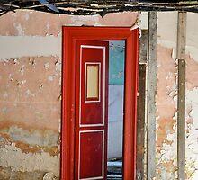 newly painted door in urbex room by Remco den Hollander