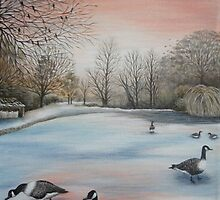'Winter Lake' by Dawn Jones Art