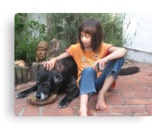 Young Girl and Old Dog Canvas Print