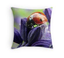 ladybug on salvia Throw Pillow
