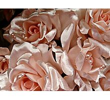 Pink Satin Roses and Pearls Bride Bouquet Photographic Print
