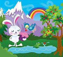 Shamelessly Cute Bunny with Cupcake and Blue Bird by jillhowarth
