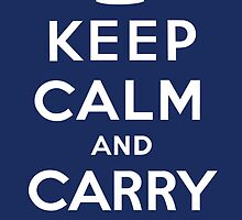 Keep Calm and Carry On (Navy Background) by Jeff Vorzimmer
