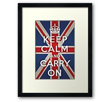 Keep Calm and Carry On (Union Jack Background) Framed Print