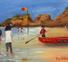 Red Surf Life Saving Boat by rodmooreart