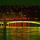 Wandsworth Bridge at Night - A Golden Gate  by andonsea