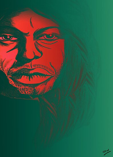 David Gilmour from Pink Floyd Caricature by Grant Wilson