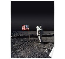 Buzz Aldrin on the Moon with Flag Poster