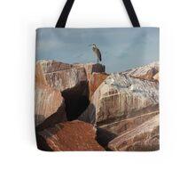 Great Blue Heron on Red Rock Tote Bag