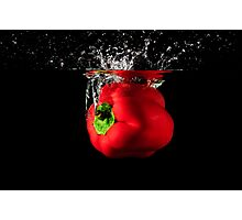 Red Pepper Splash Into Water Photographic Print