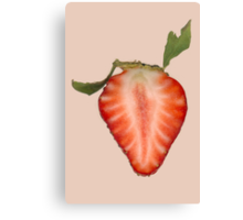 Food - Fruit - Slice of Strawberry Canvas Print