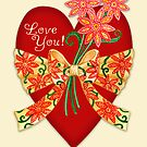 Love You! Valentine Heart with Bow by Laura J. Holman