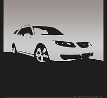 Saab 9-5, 2006 front - Gray on black by uncannydrive