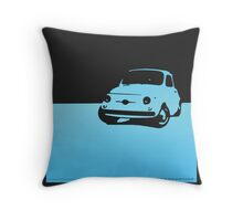 Fiat 500, 1959 - Light blue on black Throw Pillow