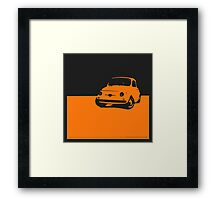 Fiat 500, 1959 - Orange on black Framed Print