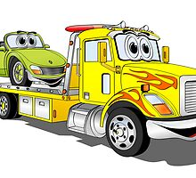 Yellow Cartoon Car Hauler Truck by Graphxpro