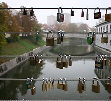 Love lock bridge, Slovenia by OneGuyInMelb