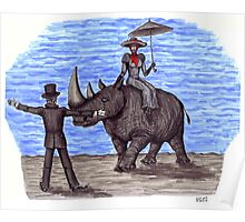 Rhino Situation surreal pen ink drawing Poster