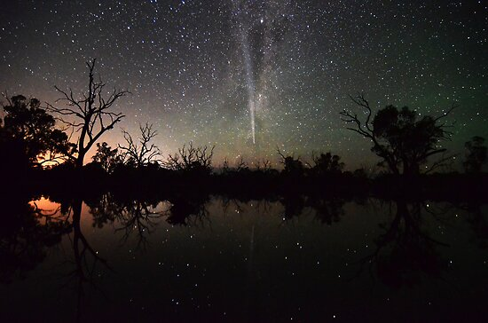 Comet Lovejoy Swamp Reflections by Wayne England