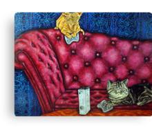 Cats playing X Box Canvas Print