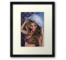 Sexy Lingerie Model posing pretty at studio vintage background Framed Print