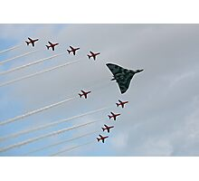 Avro Vulcan Escorted by the Red Arrows Photographic Print